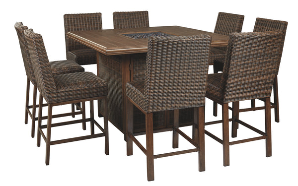 Paradise Trail Signature Design 9-Piece Outdoor Bar Table Set