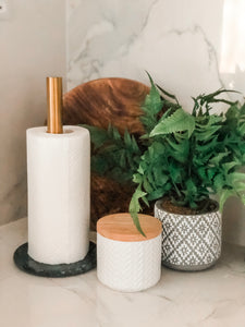 Paper Towel Holder - Brass & Green Marble