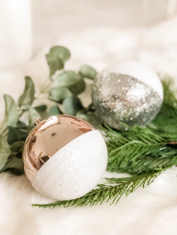 Esther - Gold/Silver/White Glossy Glitter Baubles
