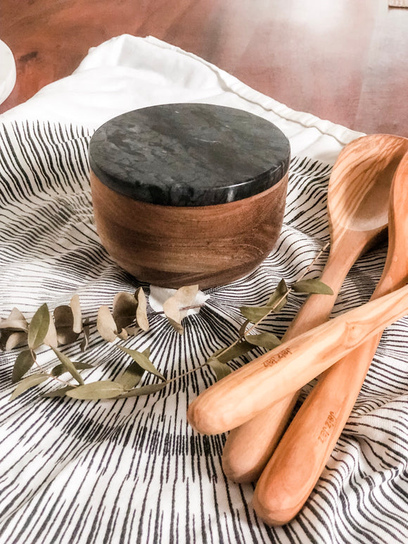 Acacia & Black Marble Salt/Pepper Keeper