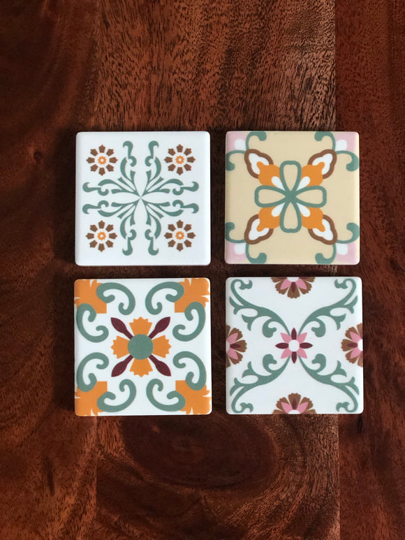 Peranakan Tile Fridge Magnets - Set of 4 (Nonya)