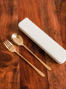 Reusable 2-piece Cutlery Set in Wheat Box