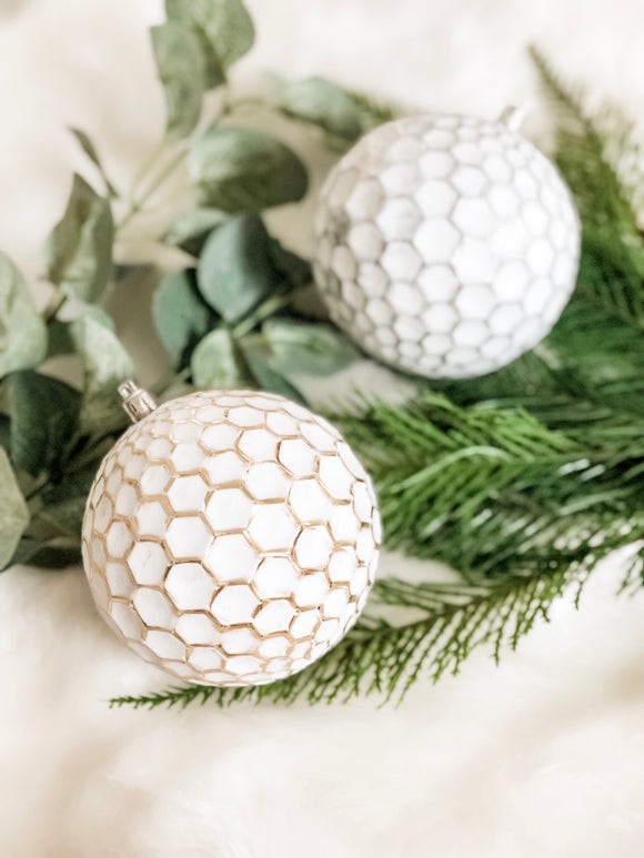 Matthew - Gold/Silver Rustic Honeycomb Baubles