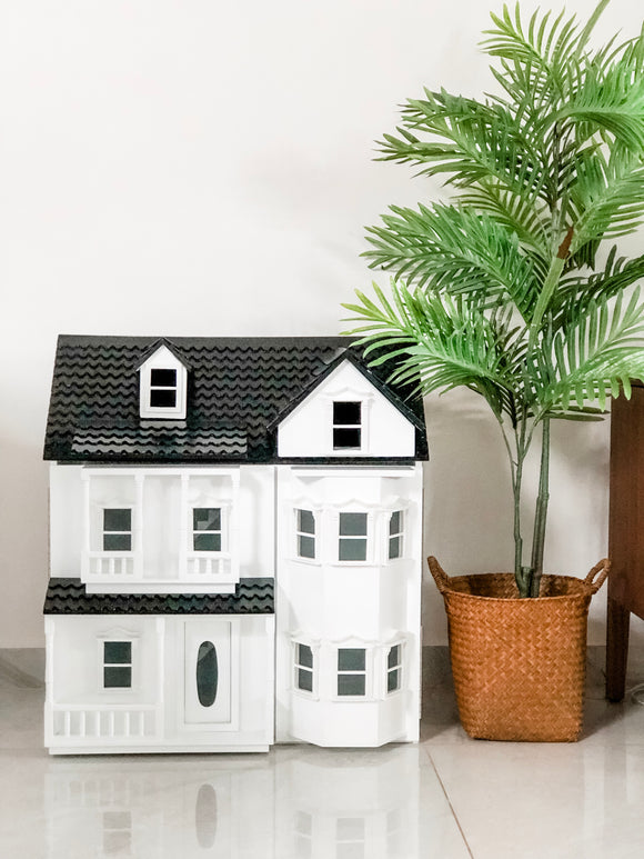 Black and White Classic Wooden Dollhouse