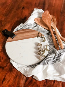 Acacia & Marble Cheeseboard with Leather Pull