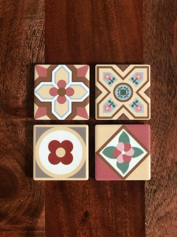 Peranakan Tile Fridge Magnets - Set of 4 (Bloom)