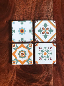 Peranakan Tile Fridge Magnets - Set of 4 (Jade)