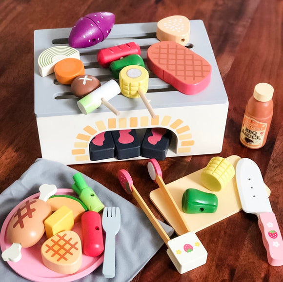 BBQ Grill Wooden Toy Set