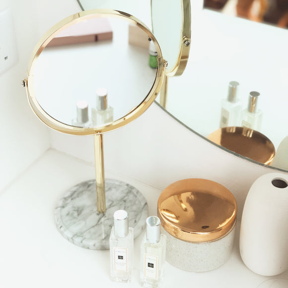 Tabletop Mirror with Marble Stand