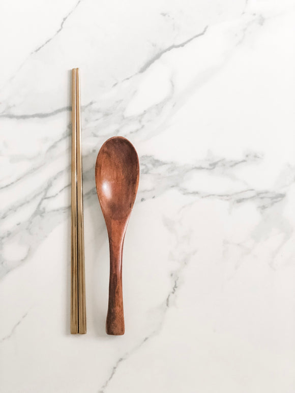 Gold Chopsticks / Wooden Soup Spoon