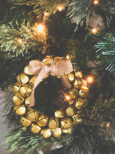 Sleigh Bells Ring Gold Christmas Wreath