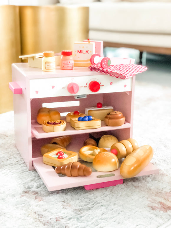Oven and Pastries Wooden Toy Set
