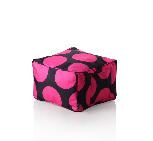 Sweety Toys 11674 Hocker Fusshocker schwarz mit pinken Punkten- Indoor/Outdoor-Waterproof