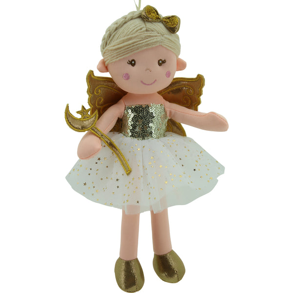 Sweety Toys 11742 Stoffpuppe Fee Plüschtier Prinzessin 30 cm Gold