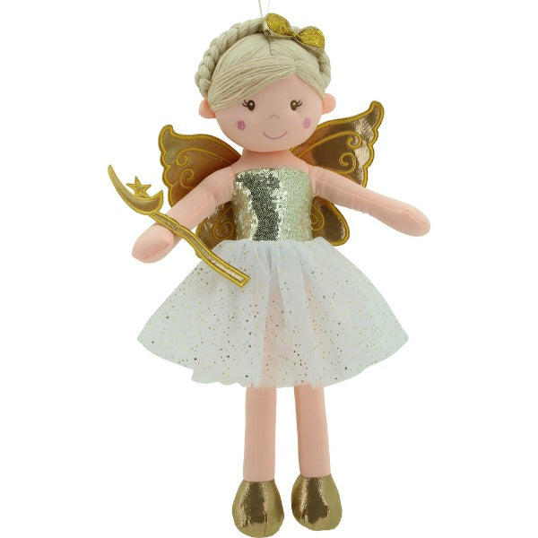 Sweety Toys 11810 Stoffpuppe Fee Plüschtier Prinzessin 60 cm Gold