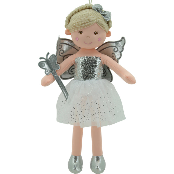 Sweety Toys 11827 Stoffpuppe Fee Plüschtier Prinzessin 60 cm Silber