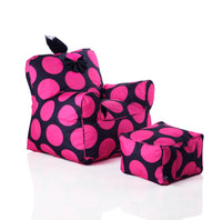 Sweety Toys 12152 Kindersessel Set mit Hocker schwarz mit pinken Punkten-indoor/outdoor-waterproof