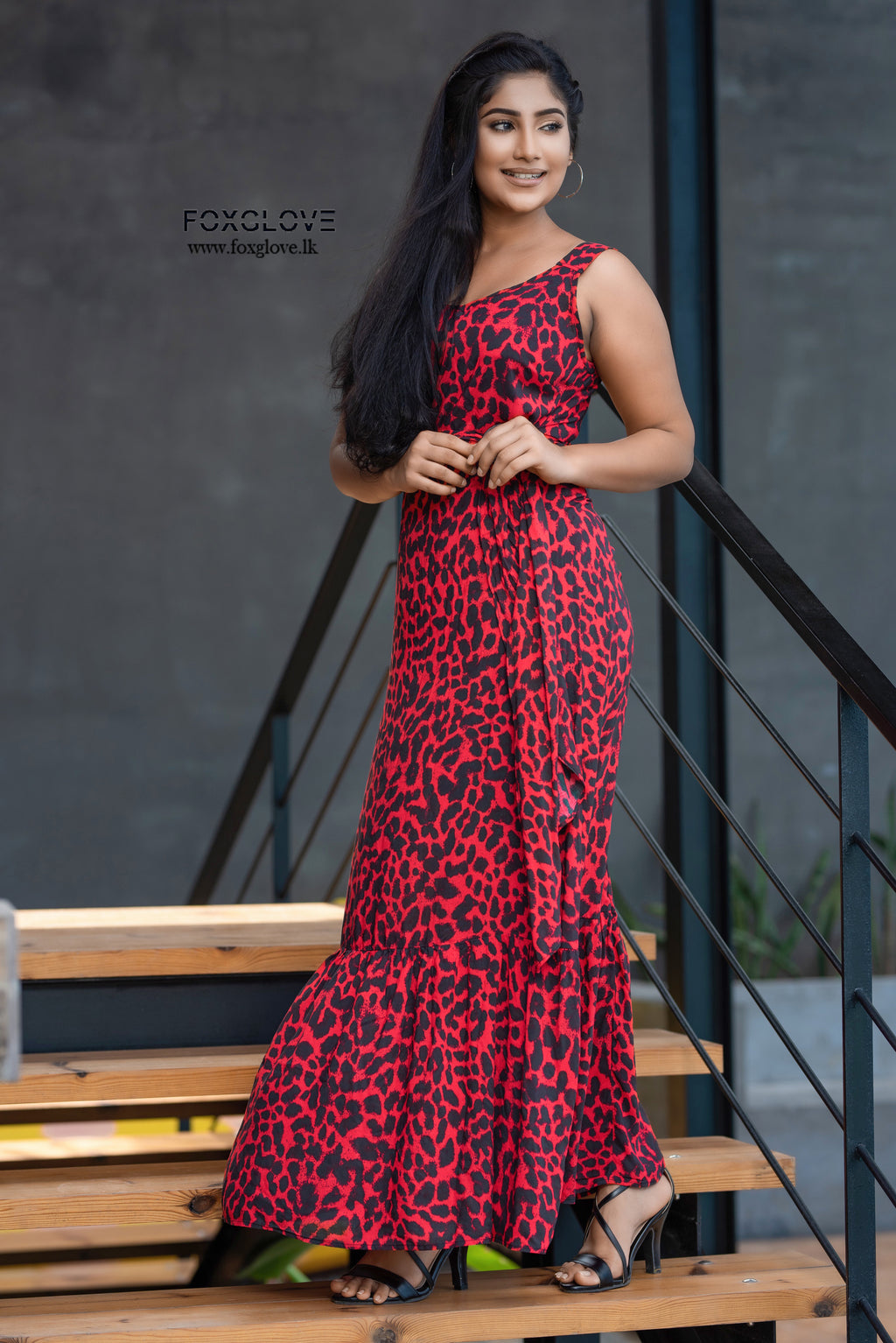 Tire maxi Dress with belt _red