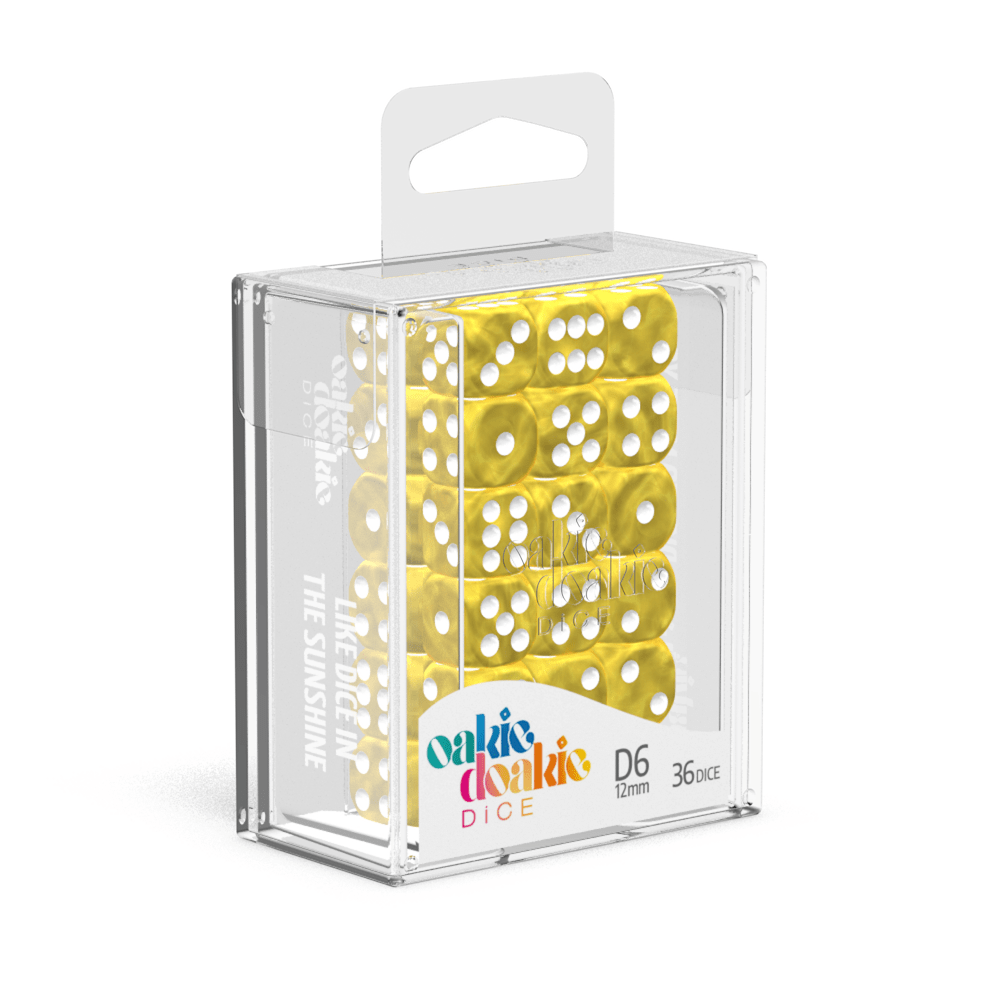 Oakie Doakie Dice D6 12 mm Marble - Yellow (36) - Mega Games Penrith