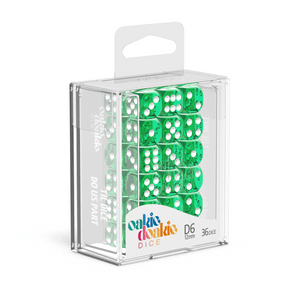 Oakie Doakie Dice D6 12 mm Translucent - Green (36) - Mega Games Penrith