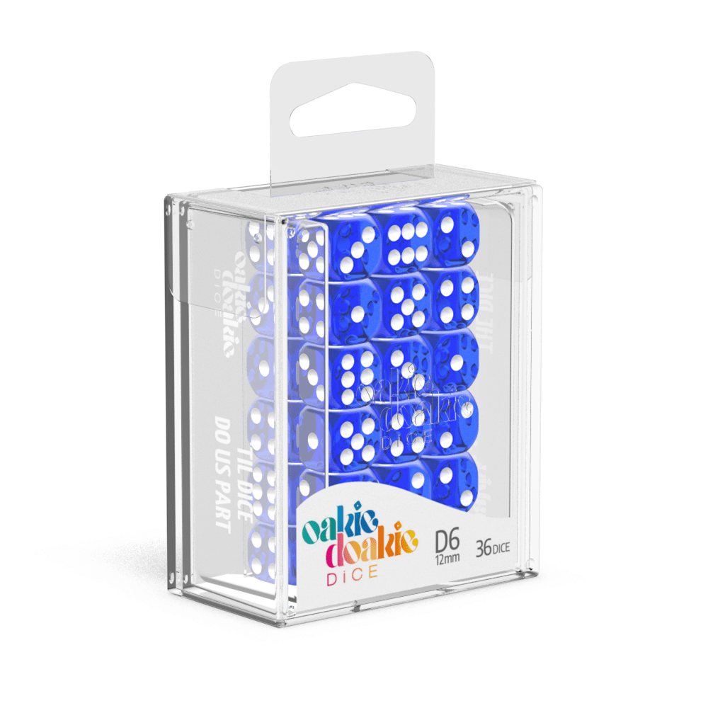 Oakie Doakie Dice D6 12 mm Translucent - Blue (36)