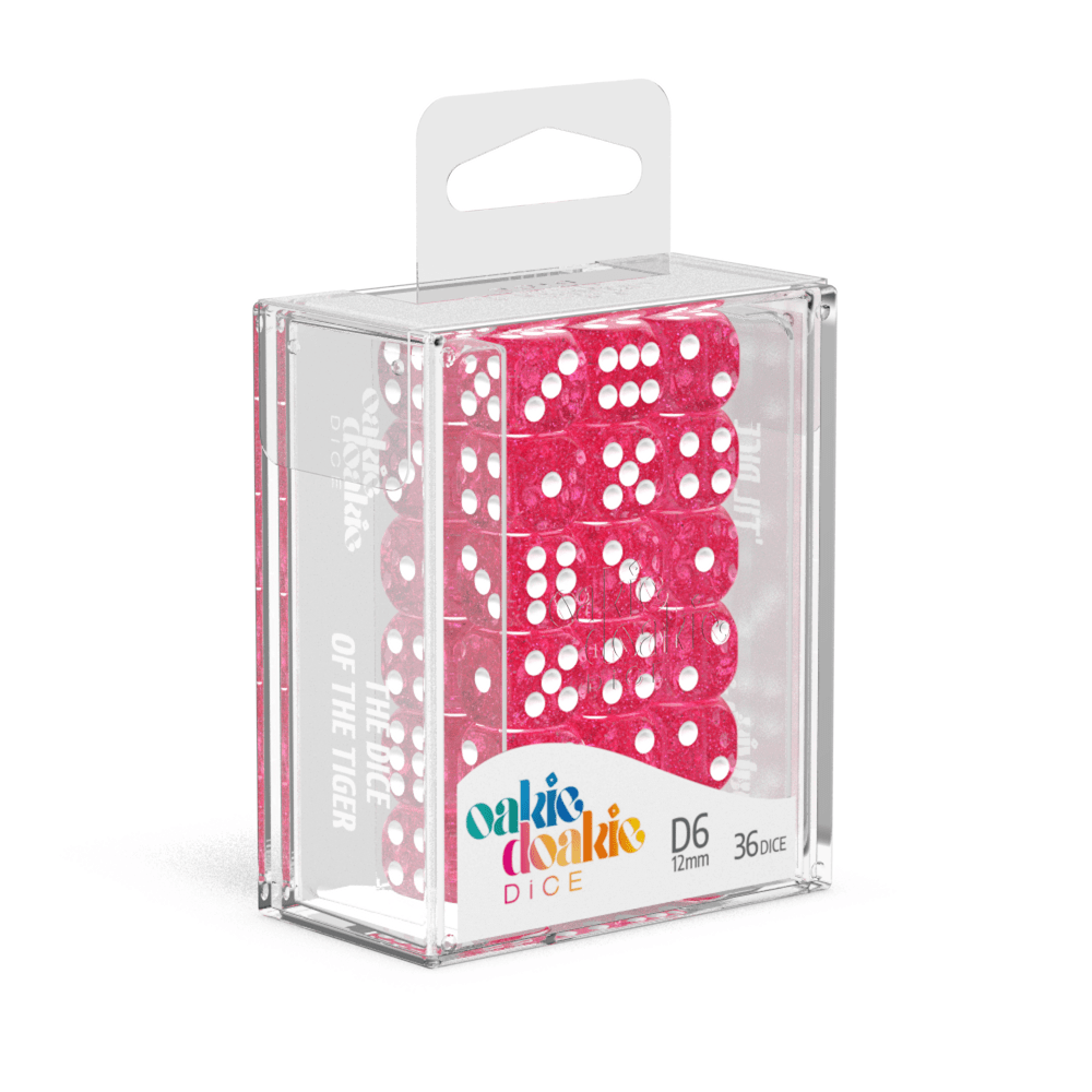 Oakie Doakie Dice D6 12 mm Speckled - Pink (36) - Mega Games Penrith