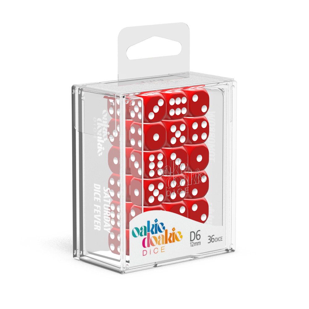 Oakie Doakie Dice D6 12 mm Solid - Red (36) - Mega Games Penrith