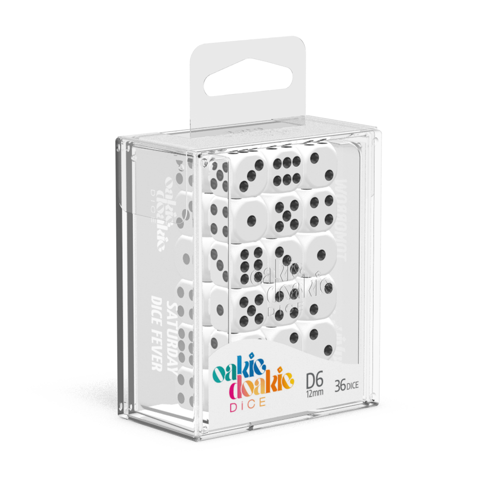 Oakie Doakie Dice D6 12 mm Solid - White (36) - Mega Games Penrith