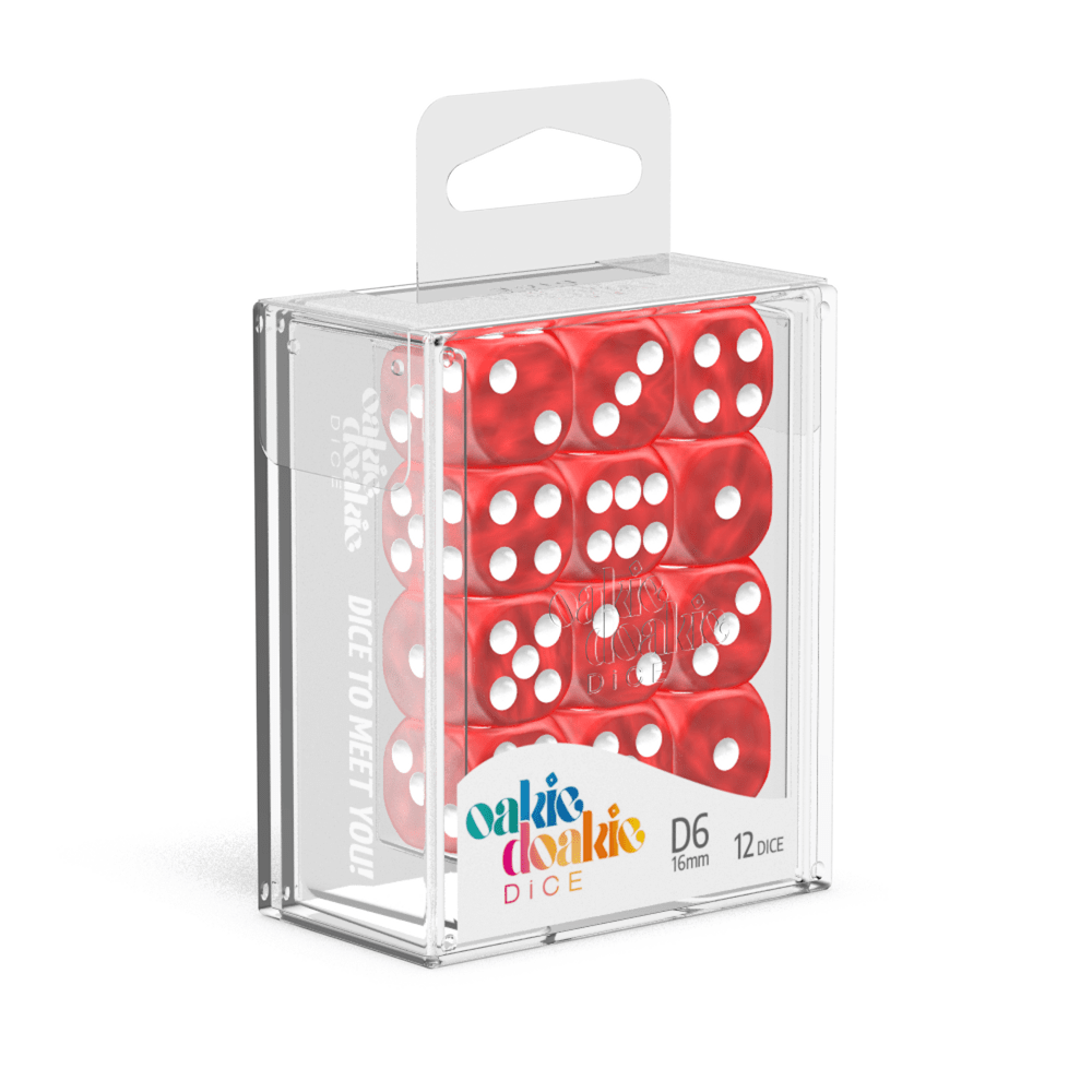 Oakie Doakie Dice D6 16 mm Marble - Red (12) - Mega Games Penrith