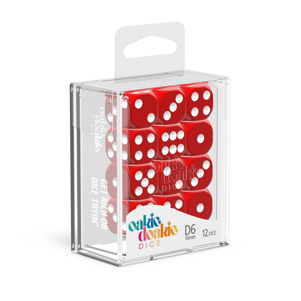 Oakie Doakie Dice D6 16 mm Solid - Red (12) - Mega Games Penrith