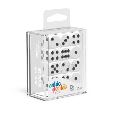 Oakie Doakie Dice D6 16 mm Solid - White (12) - Mega Games Penrith