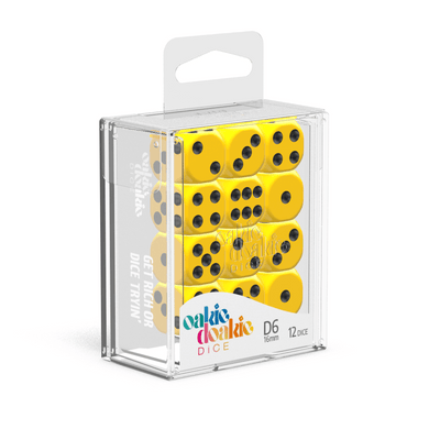 Oakie Doakie Dice D6 16 mm Solid - Yellow (12) - Mega Games Penrith