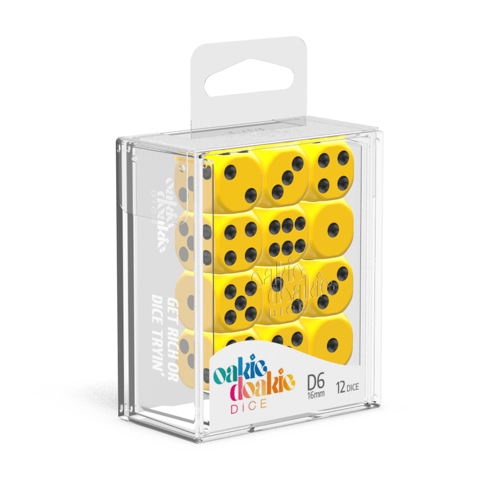 Oakie Doakie Dice D6 16 mm Solid - Yellow (12)