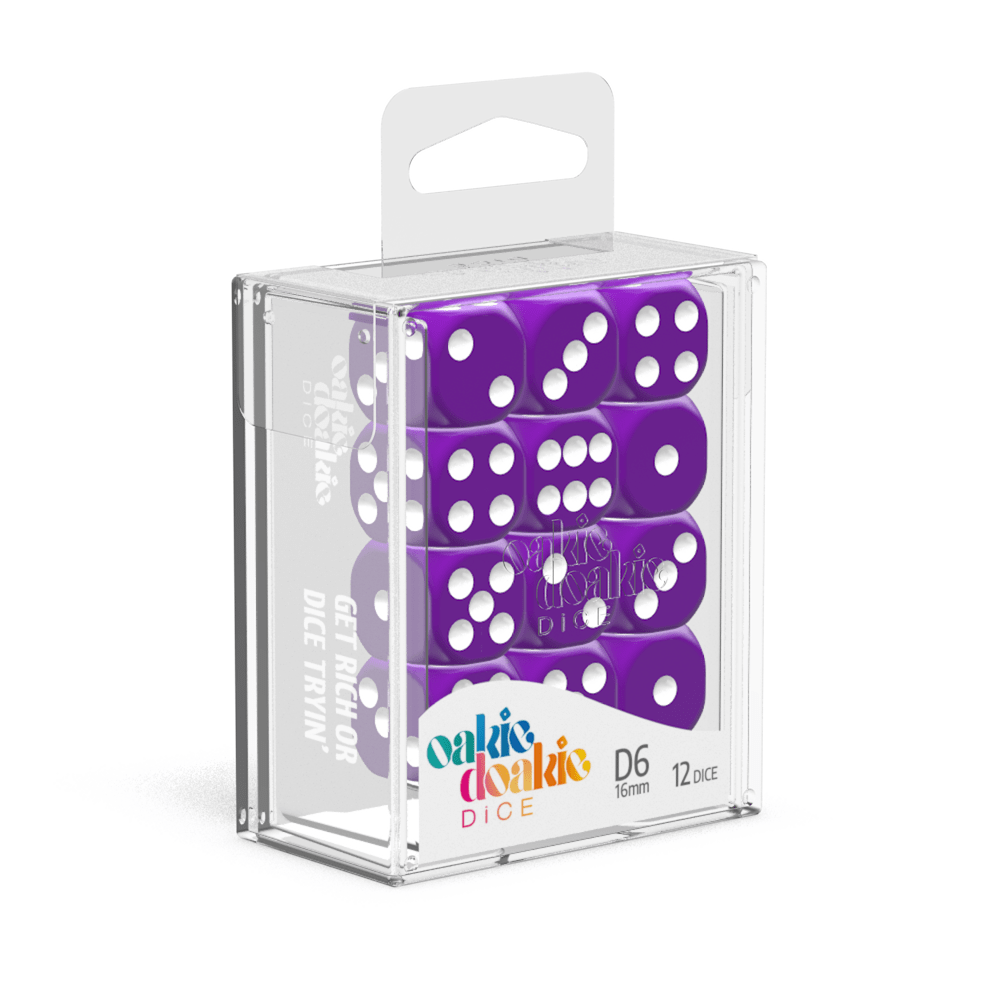 Oakie Doakie Dice D6 16 mm Solid - Purple (12) - Mega Games Penrith
