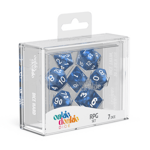 Oakie Doakie Dice RPG Set Marble - Blue (7) - Mega Games Penrith