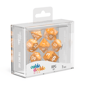 Oakie Doakie Dice RPG Set Marble - Orange (7) - Mega Games Penrith
