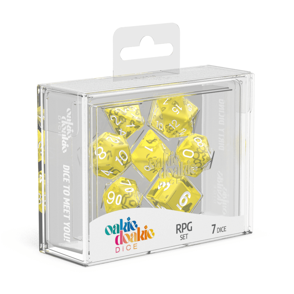 Oakie Doakie Dice RPG Set Translucent - Yellow (7) - Mega Games Penrith