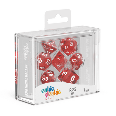 Oakie Doakie Dice RPG Set Speckled - Red (7) - Mega Games Penrith