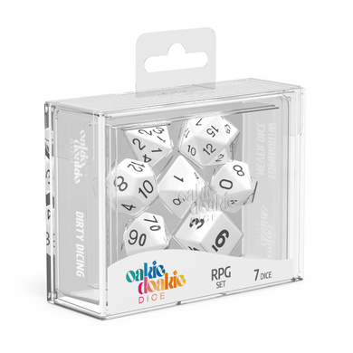 Oakie Doakie Dice RPG Set Solid - White (7) - Mega Games Penrith