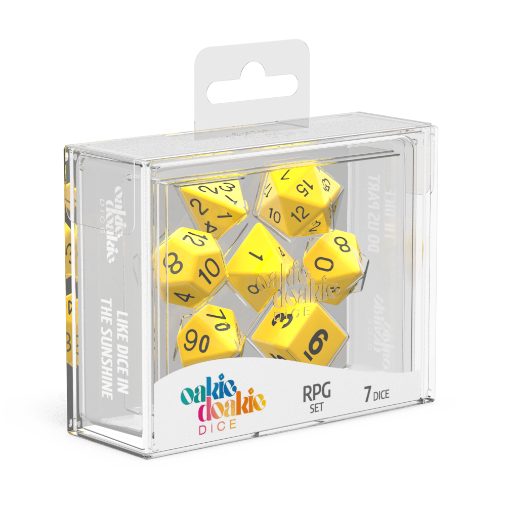 Oakie Doakie Dice RPG Set Solid - Yellow (7) - Mega Games Penrith