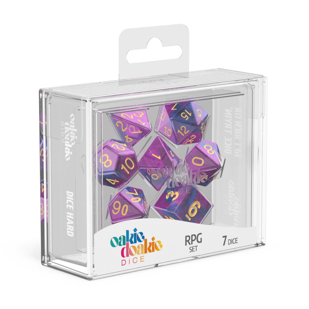 Oakie Doakie Dice RPG Set GemiDice - Amethyst (7) - Mega Games Penrith