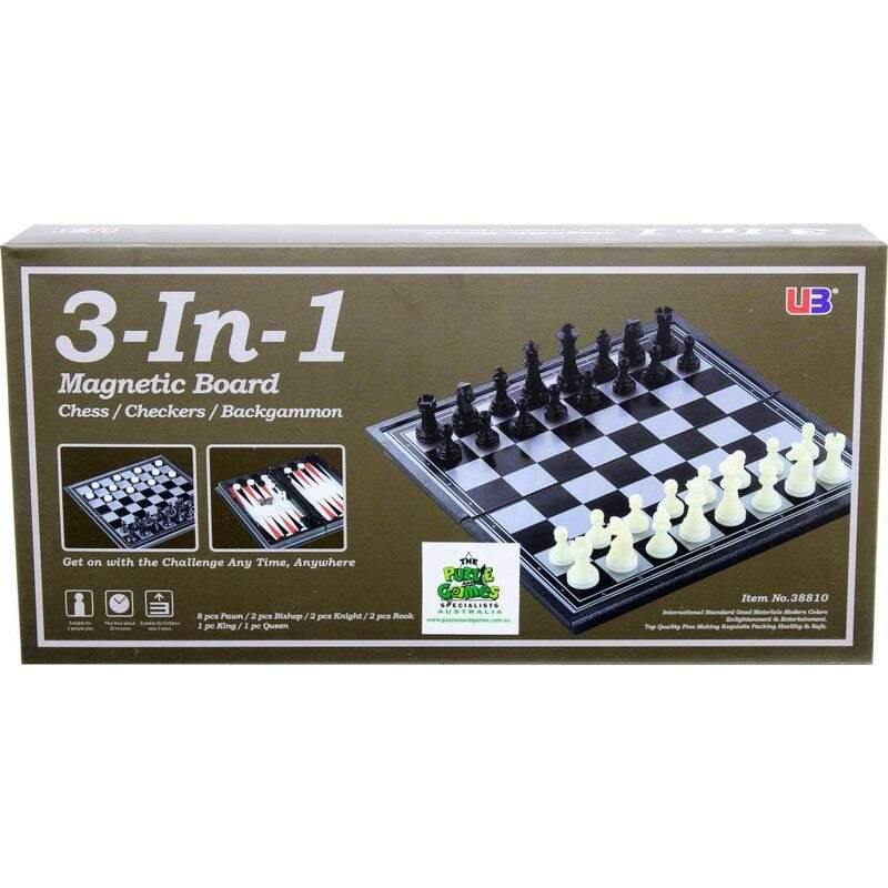 Magnetic 3-In-1 Chess | Checkers | Backgammon - Black Box