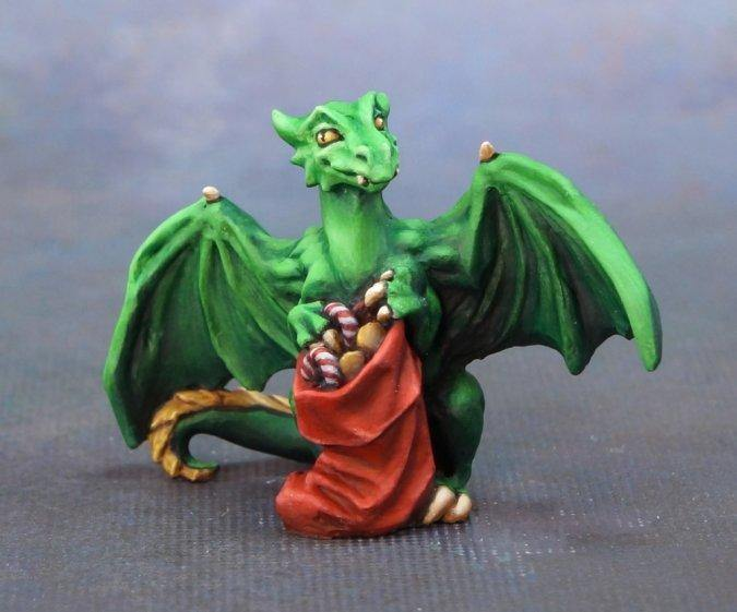 Reaper Dragon with Stocking Metal Figure, Unpainted. - Mega Games Penrith