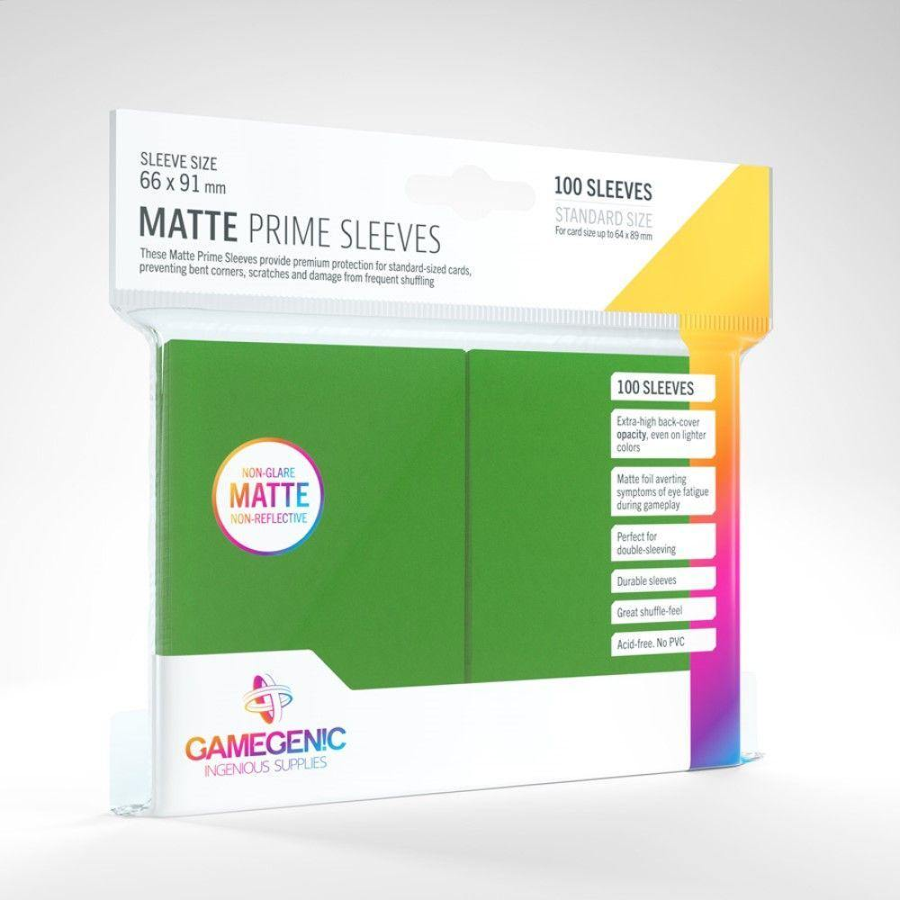 Gamergenic Matte Prime 100ct Standard Sleeves Green - Mega Games Penrith