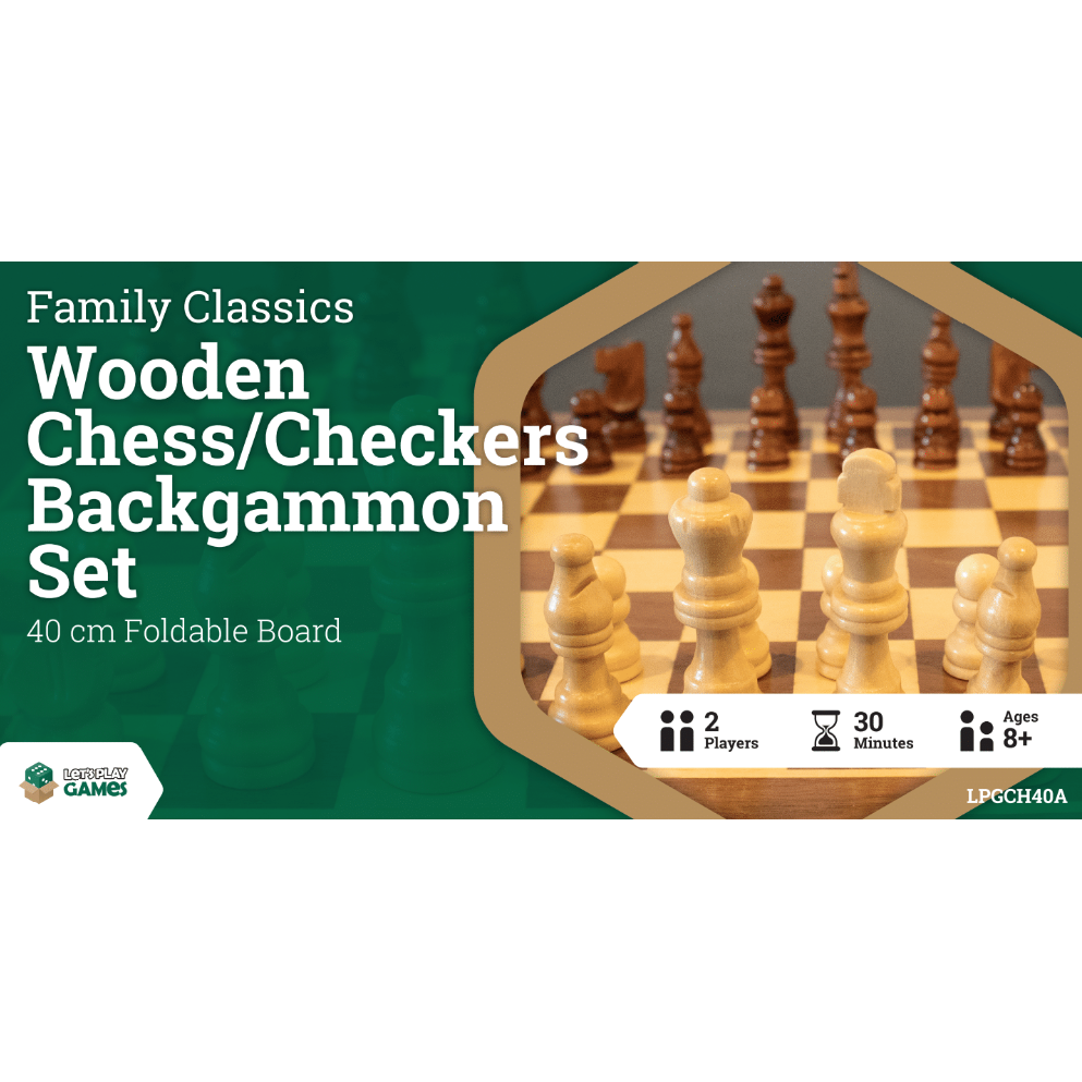 Family Classics Wooden Folding Chess/Checkers/Backgammon Set 40cm - Mega Games Penrith