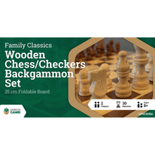 Load image into Gallery viewer, Family Classics Wooden Folding Chess/Checkers/Backgammon Set 35cm - Mega Games Penrith