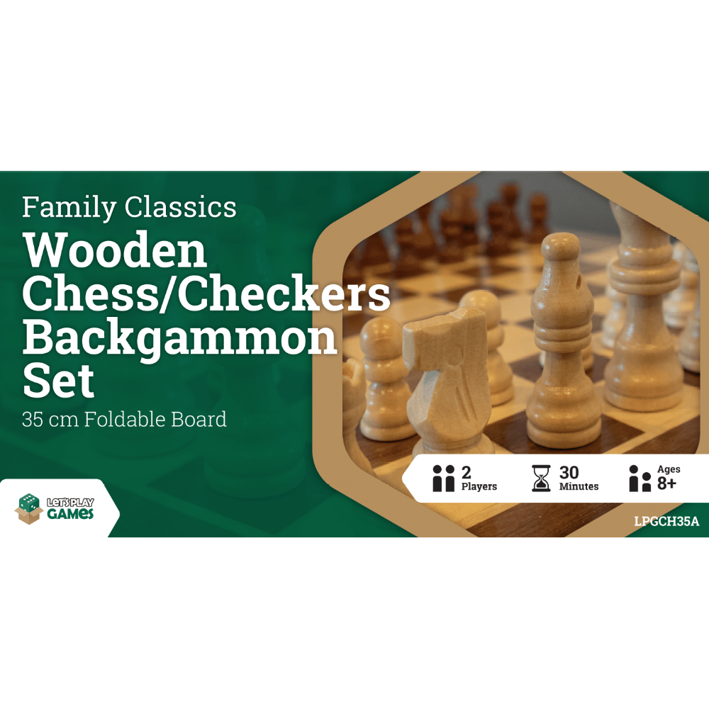 Family Classics Wooden Folding Chess/Checkers/Backgammon Set 35cm - Mega Games Penrith