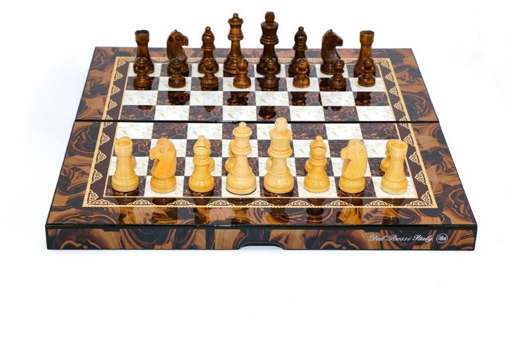 Dal Rossi Folding Chess Set Mosai Shiny Finish 16inch