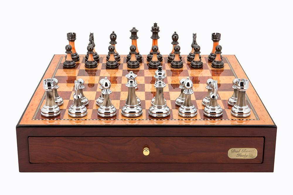 Dal Rossi Chess Set, Red Mahogany Board, With Metal / Marble Pieces