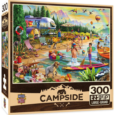 Masterpieces Campside Day At The Lake Jigsaw Puzzle 300 EZ Grip Pieces - Mega Games Penrith